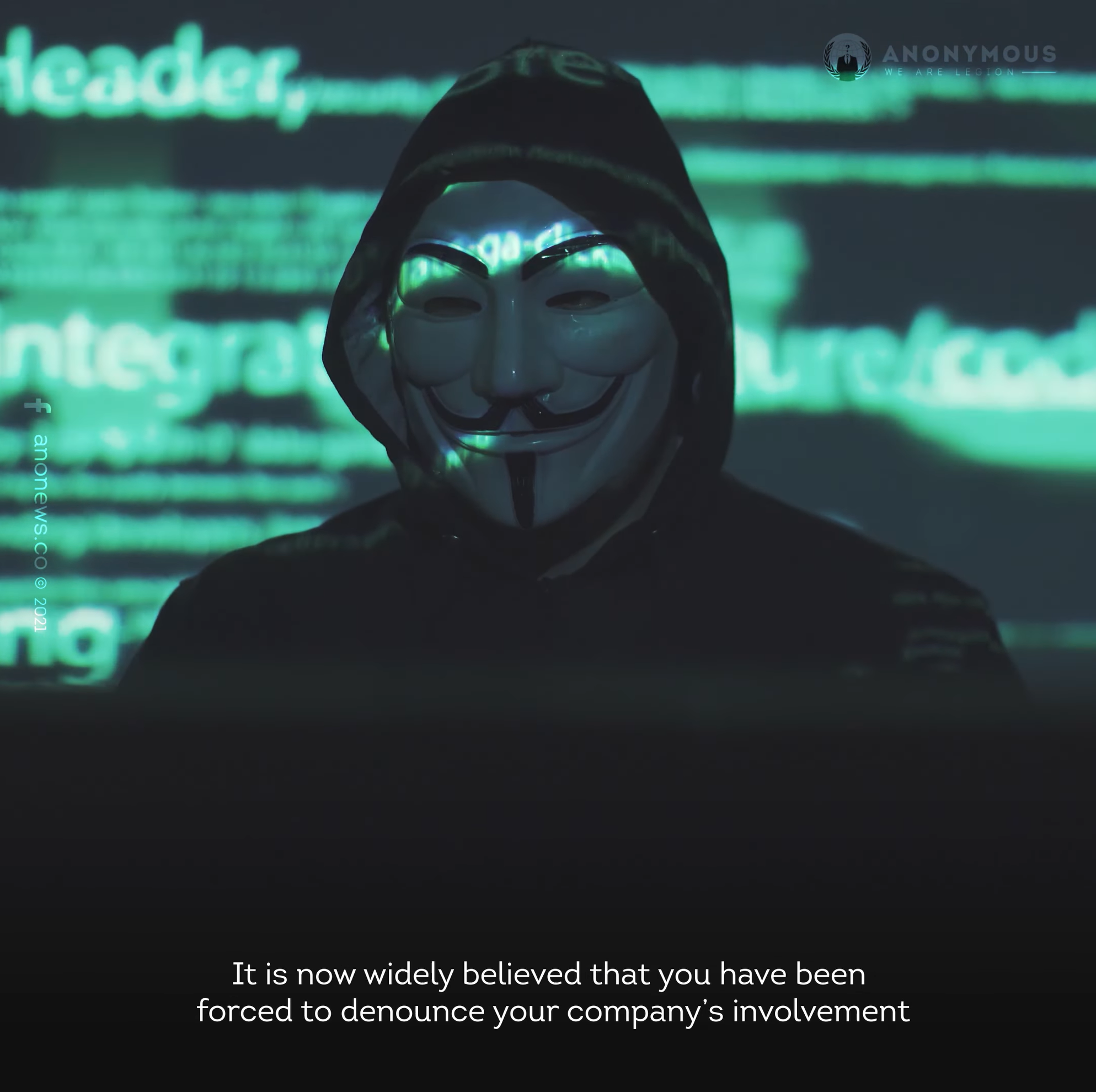 Anonymous sends a strongly worded message to Elon Musk